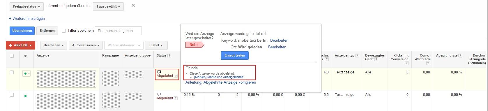 Verletzung des Markenrechts Google Adwords Anzeige