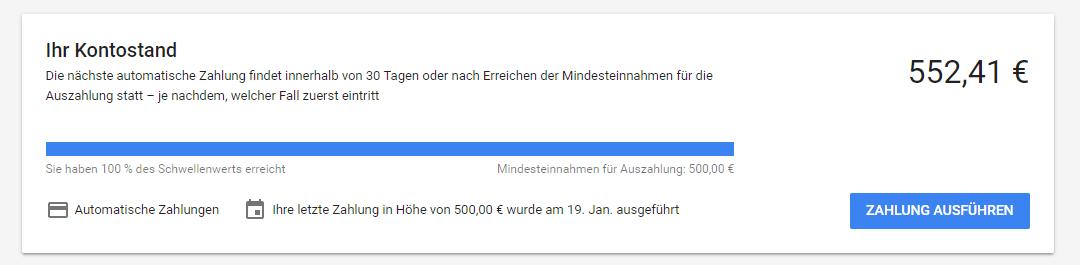 Google Adwords Übersetzung des Kontostandes
