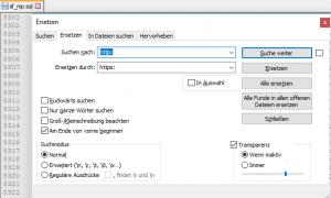 Suchen + Eretzen Notepad++
